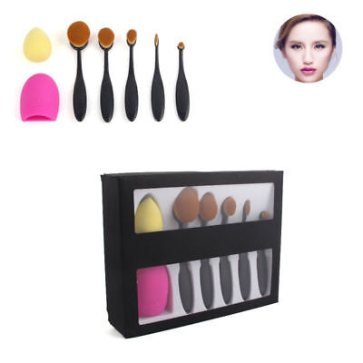 5Pcs Toothbrush Type Oval Beauty Makeup Brushes Puff Cosmetic Egg Brush Tool Set