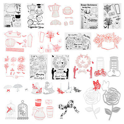 2pcs/set DIY Silicone Transparent Seals Clear Stamps+Cutting Dies for Album Card