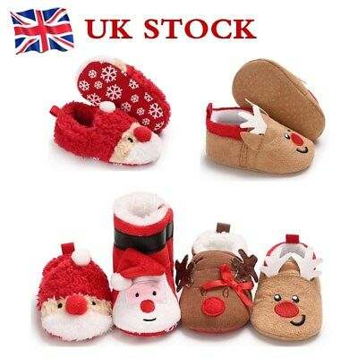 Xmas Kids Baby Cotton Slippers Boys Girls Santa Plush Cute Winter Indoor Shoes