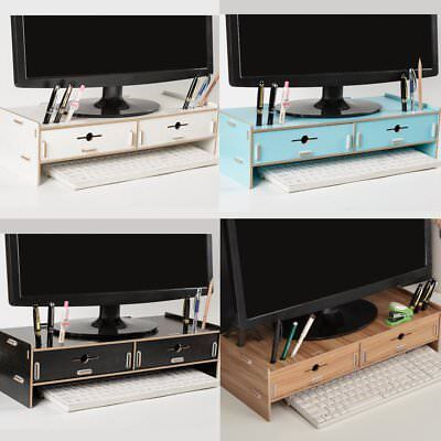 Wooden Computer Monitor Riser Desktop TV Stand Desk Storage Shelf Laptop Holder
