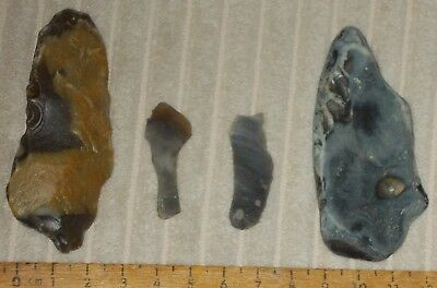 Mesolithic /neolithic Flint Microliths And Honey-Coloured Pointed Tool (British)