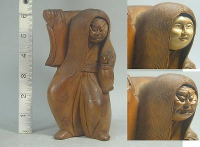 Japanese Art #403 Wood 2 Face Demon Mask KAGURA Statue Figure Figurine Buddhism