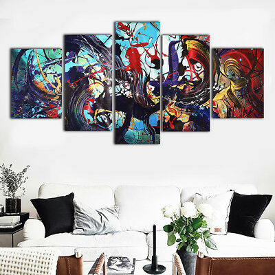 5Pcs Modern Abstract Colorful Canvas Print Painting Home Wall Art Decor Unframed