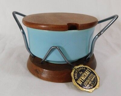 Retro Mid Century Wyncraft Sugar Bowl & Stand - Teak Wood / Lord Nelson Pottery