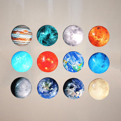 12pcs Refrigerator Magnets Round Decorative Glass Fridge Magnets for Office Home