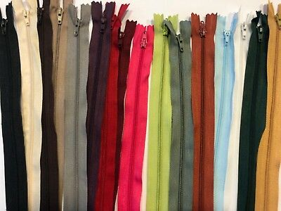 No.3 Nylon Closed End Autolock Zip 30/36/41/46cm Many Colours -Upholstery/Sewing