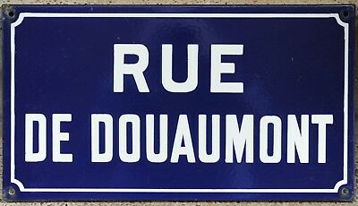 Old French enamel steel street sign road plaque name Douaumont Argenteuil Paris