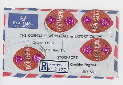 1972 Freetown Sierra Leone Registered Self Adhesive Commercial Cover Stockport