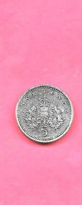 Great Britain Gb Uk Km937B 1994 Unc-Uncirculated Mint Old 5 Pence Coin