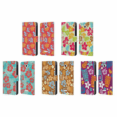 Head Case Designs Hawaiian Patterns Leather Book Wallet Case For Sony Phones 2