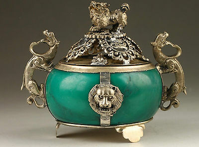 EXQUISITE OLD Collection Tibet Silver Dragon Inlaid Jade Incense Burner RT052