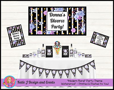 * Personalised Modern Black & White FLORAL Divorce Party Decorations Supplies *