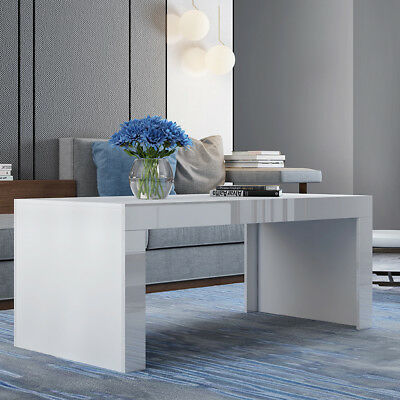 Modern High Gloss White Rectangle Nest of Tea Coffee Table Brief Side/End Table