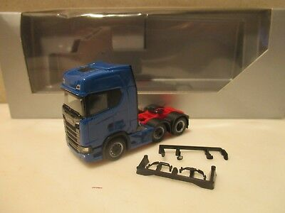 HERPA     --- dreiachser ZM  --   neutral in blau  ----  SCANIA CS HD