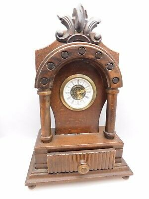 Vintage West German Ornate Wooden Mantel Clock - Working