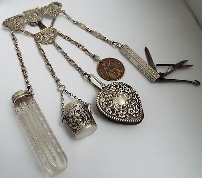 Beautiful Rare English Antique 1885 Solid Silver Chatelaine Chain & Silver Tools