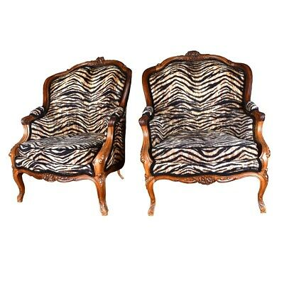 Pair of Antique French Carved Walnut and Upholstered Bergere Armchairs