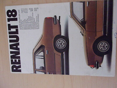 CATALOGUE Brochure  Publicitaire RENAULT 18 1979