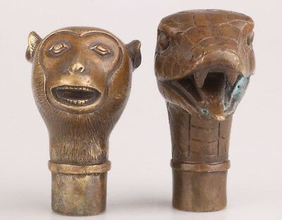 2 Chinese Bronze Statue Monkey Snake Cane Walking Stick Head Handle Accessorie