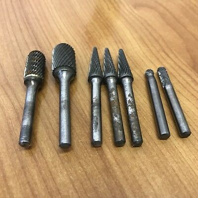 7 Pcs Tungsten Carbide Burrs Rotary Burr Set Head 1/4'' Shank Die Grinder Bit US