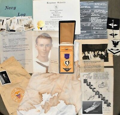 """WWII Wounded USN Aviation Gunner """"Fabled Fifteen"""" Grouping- Medal, Papers & More"""