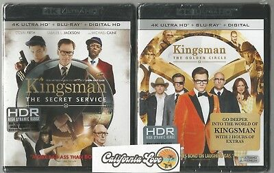 Kingsman 1 + 2 4K Ultra Hd + Blu-Ray 2-Movie 4-Disc Combo Set ✔☆Mint☆✔No Digital