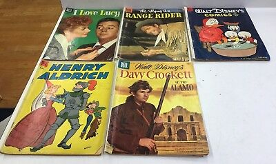 Lot of 5 Vintage 1950s Dell Comic Books I Love Lucy, Range Rider, Walt Disney