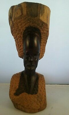 Vintage carved in The log Ebony wood African man Sculpter, Tribal art statue.