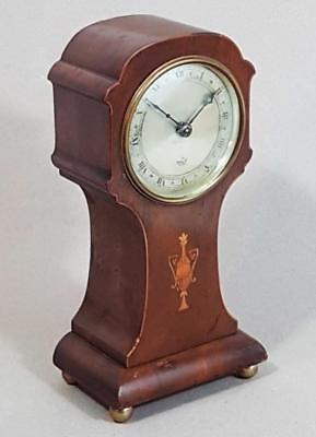 BEAUTIFUL VINTAGE ANTIQUE INLAID MAHOGANY MANTLE CLOCK Balloon Clock timepiece