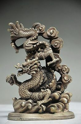 Exquisite Chinese Silver Copper Handmade Dragon Statue Rt
