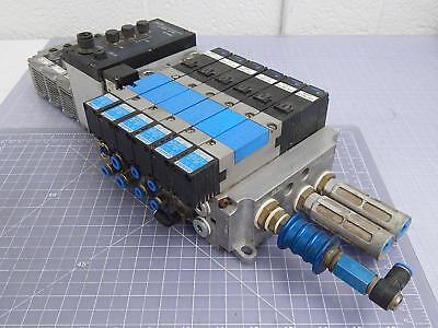 Lot of 6 Festo 18990 Pneumatic Valves w/ Manifold T101028