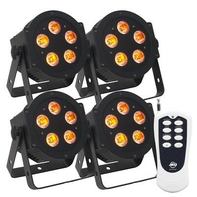 (4) American DJ ADJ Slim Par Lights Church Stage Design Lighting Fixtures+Remote