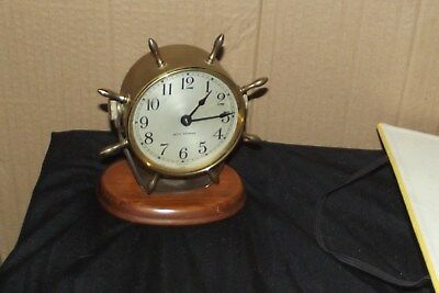 SETH THOMAS BRASS SHIP CLOCK MANTEL CLOCK working