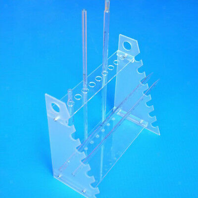 Clear Plastic Pipet Stand Racks Holder for 17 Pipettes, Horizontal Placement
