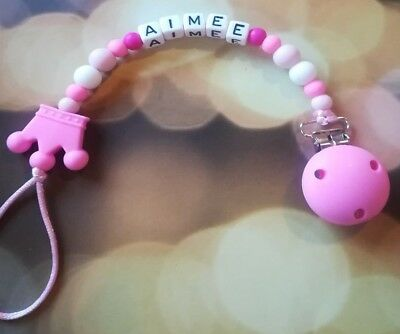 Personalized Teething Soother Dummy Clip Pacifier Chain
