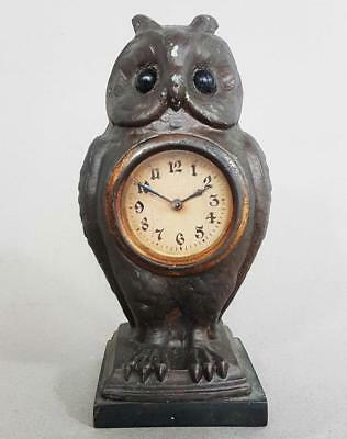 BEAUTIFUL ANTIQUE FIGURAL OWL MANTLE CLOCK 1900 timepiece