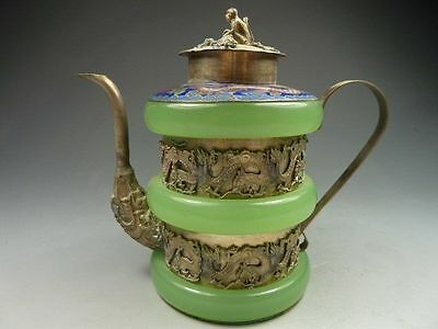 EXQUISITE Chinese old jade Tibetan silver engraving Dragon teapot Monkey Cover