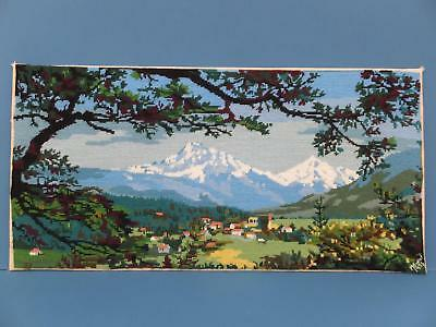 """29.5"""" Vintage Completed Wool Tapestry Needlework Picture Tyrolean Snow Mountains"""