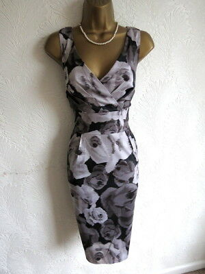 Hobbs grey floral print shift dress size 10