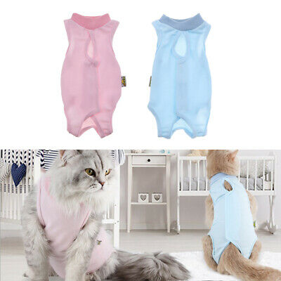 2 Pcs Recovery Suit for Cats Mesh Cloth Fabric Breathable Clothes for Cats S
