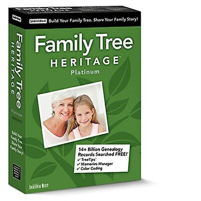 FAMILY TREE HERITAGE PLATINUM 15 (Latest Version) PC Software--Win 10,8,7----new