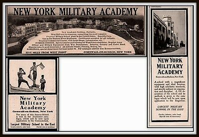 3 Early 1900 - 20 Ads New York Military Academy Hudson River Highlands