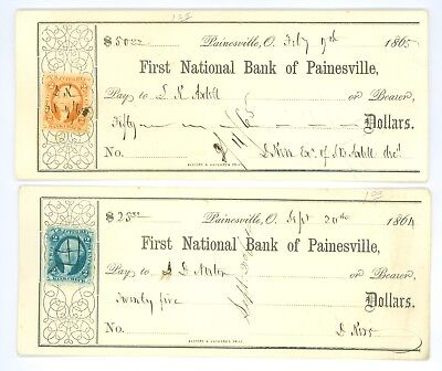 2 Vintage 1864-65 1st National Bank Of Painesville Ohio Bank Drafts