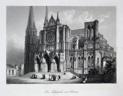 Chartres Frankreich France Kathedrale Stahlstich engraving Asselineau French