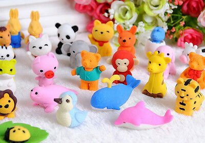 20Pcs Cute Animal Rubber Pencil Eraser Stationery Novelty Children Party Gift RB