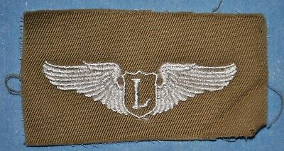 WWII Liaison Pilot Wings Insignia Embroidered on Green Cloth