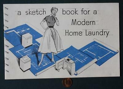 1950-60s Era GE-General Electric Modern Home Laundry sketchbook booklet-VINTAGE!