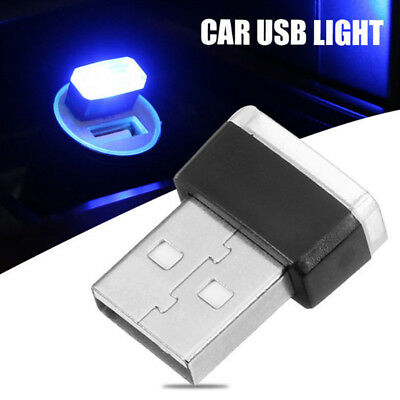 Mini USB Blue Car LED Interior Light Neon Atmosphere Ambient Lamp For Universal