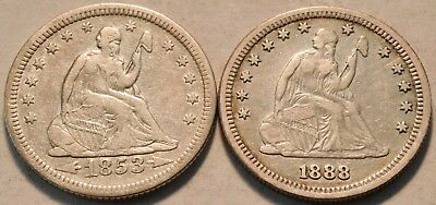 Lot of (2) Higher Grade Seated Liberty Quarters, 1853 w/Arrows 1888 S Silver 25C