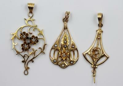 Antique Victorian Lot Of Three 10K Solid Gold Lavalier Pendants For Repair